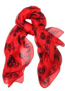 Alexander McQueen Red & Black Silk Skull Scarf