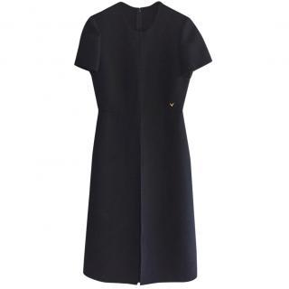 Valentino Crepe Tailored Black Dress