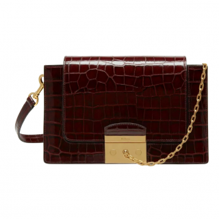 Mulberry Burgundy Croc Embossed Pembroke Shoulder Bag