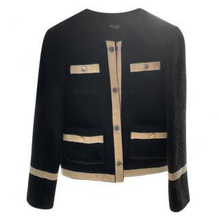 Maje Black & Cream Wool Tailored Jacket