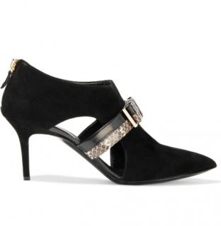 Nicholas Kirkwood Elaphe Leather Trim Suede Boots