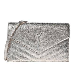 Saint Laurent Metallic Matelasse Envelope Chain Wallet