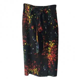 Escada Painted Floral Print Tie Waist Skirt