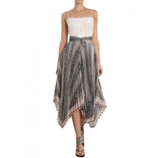 Zimmermann Corsage Pleat Snake Print Midi Skirt