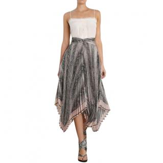 Zimmermann Corsage Pleat Snake Print Midi Skirt