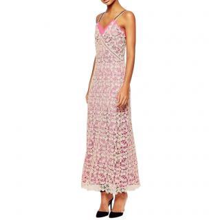 Self Portrait Pink lined Lace Shell Maxi Slip Dress