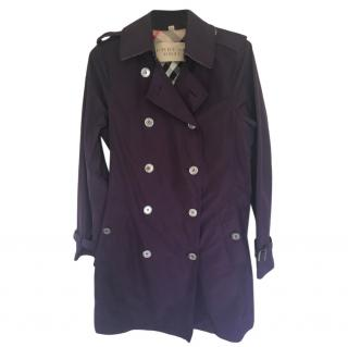 Burberry Brit purple classic belted short trench coat