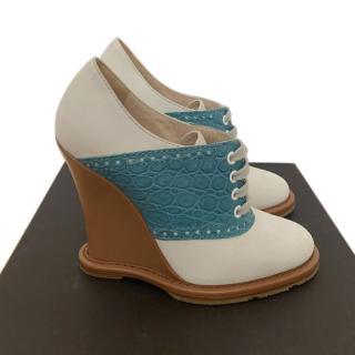 Bottega Veneta Suede & Croc Embossed Leather Wedges