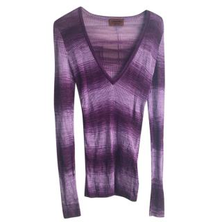 Missoni Purple Ombre Ribbed Knit Top