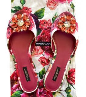 Dolce & Gabbana Pink Floral Print Crystal Slides