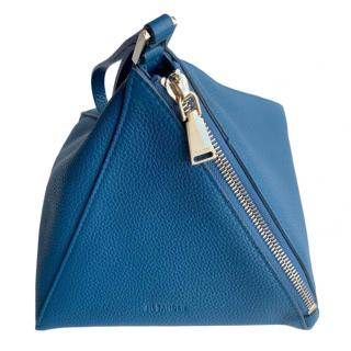 Jil Sander Blue Grained Leather Pyramid Clutch