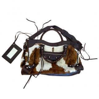 Balenciaga Pony Hair & Leather Motocross City Bag