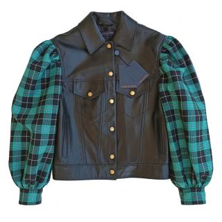Louis Vuitton Black Leather Jacket with Green Plaid Sleeves
