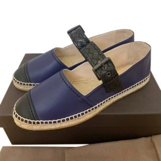 Bottega Veneta Black & Blue Intrecciato Strap Espadrilles