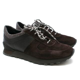 Kiton Brown Leather Technical Sneakers