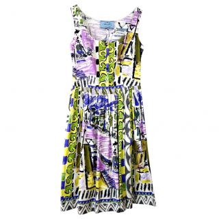 Prada Painted Print Cotton Poplin Dress