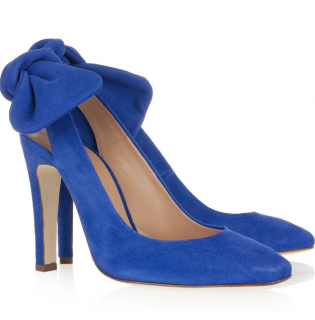Carven Blue Suede Slingback Bow Detail Pumps