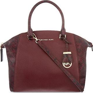 Michael Michael Kors Snake Skin Burgundy Tote Bag