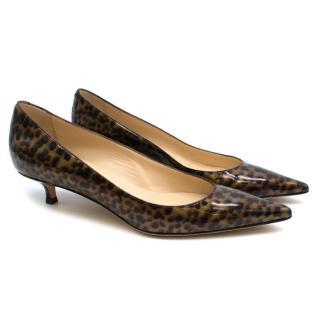 Jimmy Choo Patent Leopard Print Kitten Heel Pumps