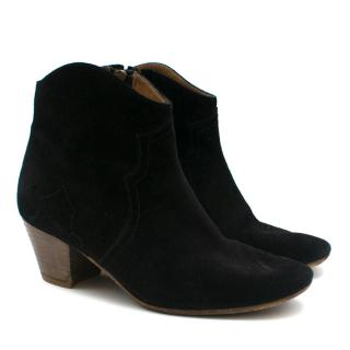 Isabel Marant Black Dicker Suede Geeled Ankle Boots