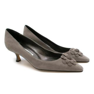 Manolo Blahnik Grey Suede Kitten Heel Pumps