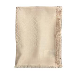 Fendi Monogram Beige Fringed Wool & Silk Scarf