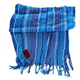 Missoni Blue Zig Zag Knit Scarf