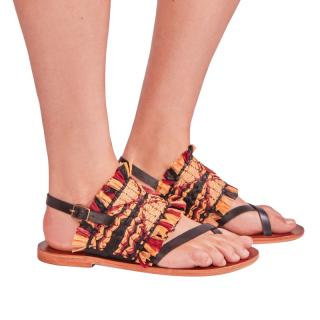 Antik Batik Raffia Embroidered Hedia Sandals
