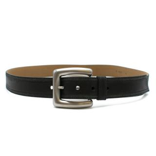 Prada Black Leather Belt With Silver Tone Buckle