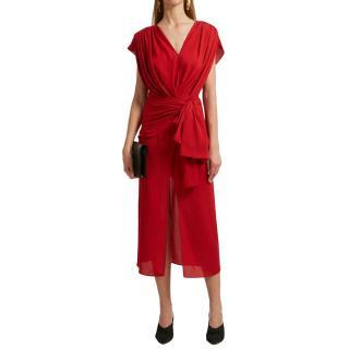 Magda Butrym Red Wrap Silk Dress