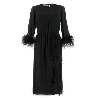 Prada Black Feather-trimmed silk-georgette lightweight midi dress