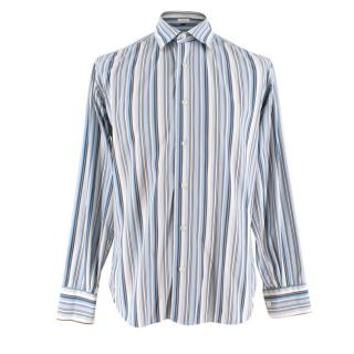 Salvatore Ferragamo Blue Striped Shirt
