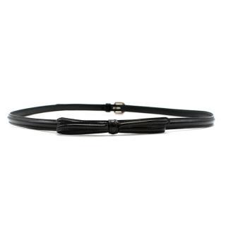 Prada Black Skinny Patent Belt with Bow