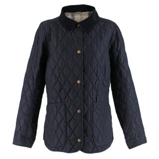 Barbour Navy Quilted Jacket with Corduroy Collar