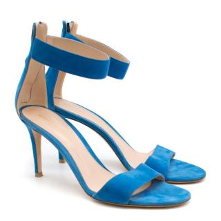 Gianvito Rossi Blue Suede Heeled Sandals