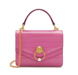 Mulberry Small Harlow Satchel In Raspberry Pink Croc Print