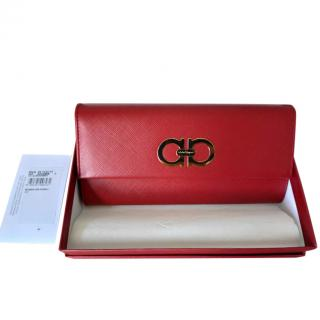 Ferragamo Red Pebbled Leather Gancini Wallet