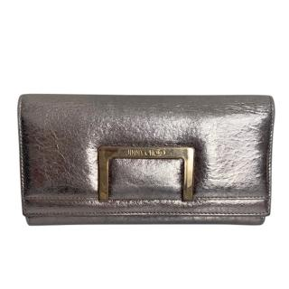 Jimmy Choo Metallic Crackled Leather Wallet