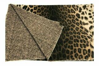 Mulberry Leopard Print Cashmere & Wool Scarf