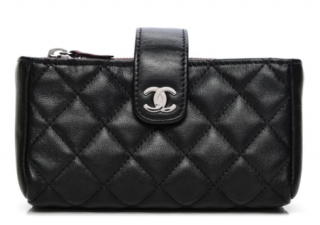 Chanel Black Leather Coin Purse/Phone Holder