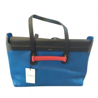 Furla Blue & Black Grained Leather Tote Bag