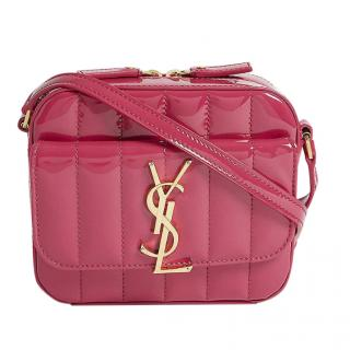 Saint Laurent Pink Vicky Quilted Camera Bag