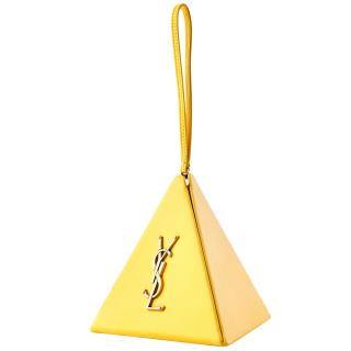 Saint Laurent Yellow Leather Pyramid Wrist Bag