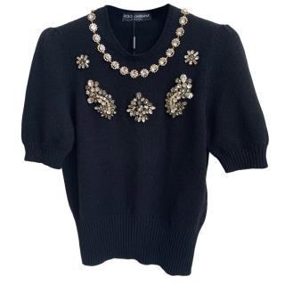 Dolce & Gabbana Crystal Embellished Cashmere Knit Top