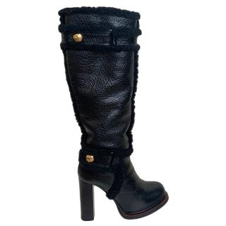Louis Vuitton Long Lambskin Shearling Lined Boots