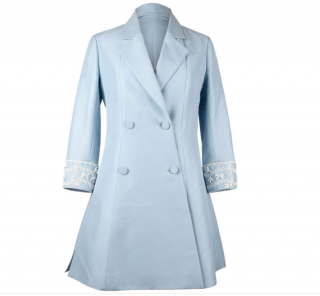 Dior Raf Simmon's pale blue embellished wool coat