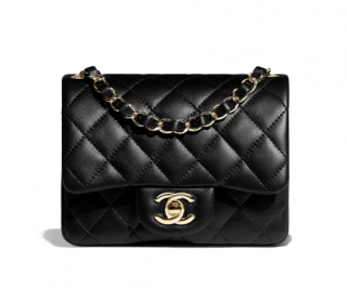 Chanel Black Lambskin Mini Quilted Flap Bag
