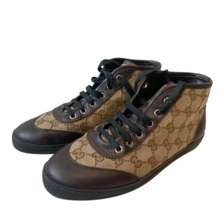 Gucci Brown Monogram Canvas Mid-Trainers