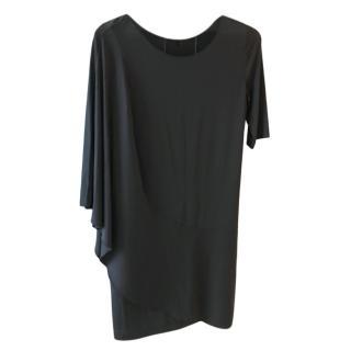 Philiosophy di Alberta Ferretti Black Silk Draped Dress