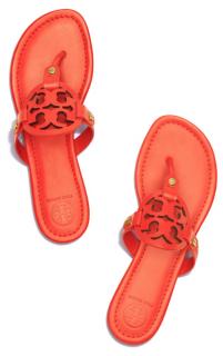 Tory Burch Orange Leather Miller Sandals